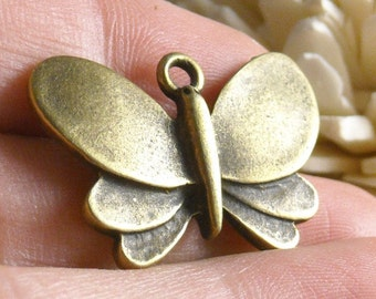 SALE 35% off...CHARM-AB-butterfly - 5 pcs Antique Bronze Butterfly Charms