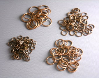100 MIXED Antique Copper Open Jump Rings - 4mm, 6mm, 8mm & 10mm