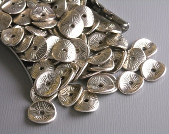 SPACER-SILVER-POTATOCHIP - 20 pcs Antique Silver Potato Chip Spacers