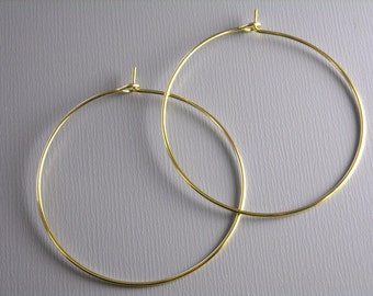 HOOP-GOLD-WINE-35MM - 35mm Gold Plated Hoop Earrings...20 pcs (10 pairs)