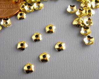 BEADCAP-GOLD-FLOWER-4MM - Mini Flower Bead Caps, 14k Gold Plated - 30 pcs