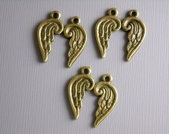 SALE - 30% off - CHARM-AB-ANGELwing - 10 pcs Antique Bronze Angel Wing Charms