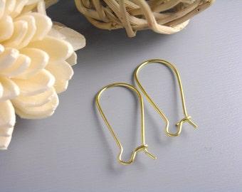 KIDNEY-GOLD-28MM - 60 pcs of 28mm 14k Gold Plated Kidney Hoop Earrings