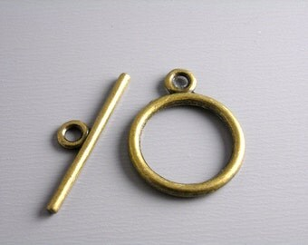 TOGGLE-AB-15MM - Antique Bronze Toggle Clasps...10 sets