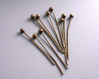 HEADPIN-COPPER-20MM - 100 Antique Copper Ball End Headpins (24 guage) - 20mm