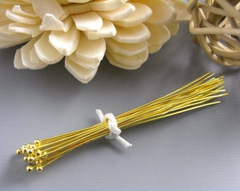 HEADPIN-GOLD-26G-50MM - 26 gauge 14K Gold Plated Ball End Headpins 50mm long (2 inches) Nickel Free...50 pcs