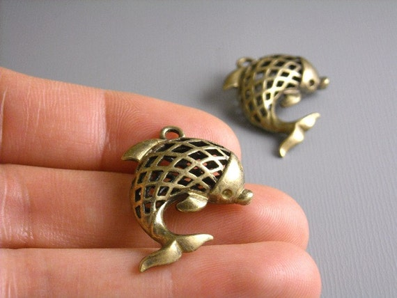 CHARM-AB-DOLPHIN - 2pcs Antique Bronze Dolphin Charms - Solid Brass