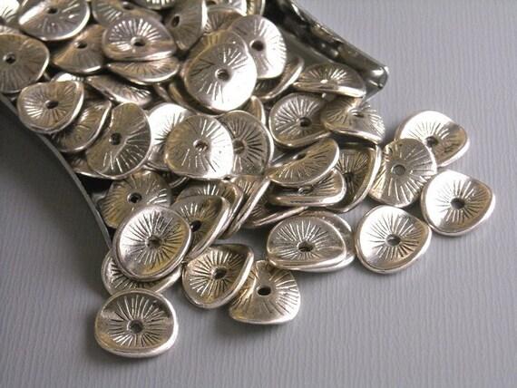 SPACER-SILVER-POTATOCHIP - 20 pcs Antique Silver Potato Chip Spacers