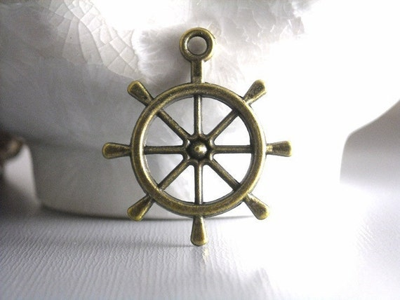 CHARM-AB-NAUTICAL - Antique Bronze Nautical Helm/Steering Wheel Charms...4 pcs