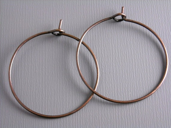HOOP-COPPER-WINE-25MM - 20 pcs of 25mm Antique Copper Hoop Earrings