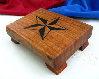 Wood Cutting Board / Coaster / Serving Tray - Natural Edge Salvaged Mesquite Wood hand engraved with a star (Can be personalized)