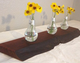 Wood Cutting Board / Serving Tray / Chopping Block/ Home Decor - Natural Edge Salvaged Mesquite Wood  (Can be personalized)