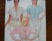 1980s-Vintage Butterick Pattern 6464-  Misses Blouse  -Size 10