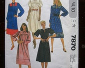 1982-Vintage McCall's Pattern 7870-  Misses Dress-  Size 14