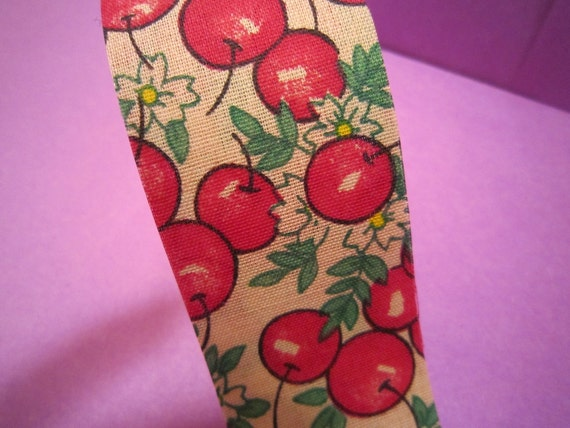 Very Cherry Fabric Ribbon-2 Yards- Vintage