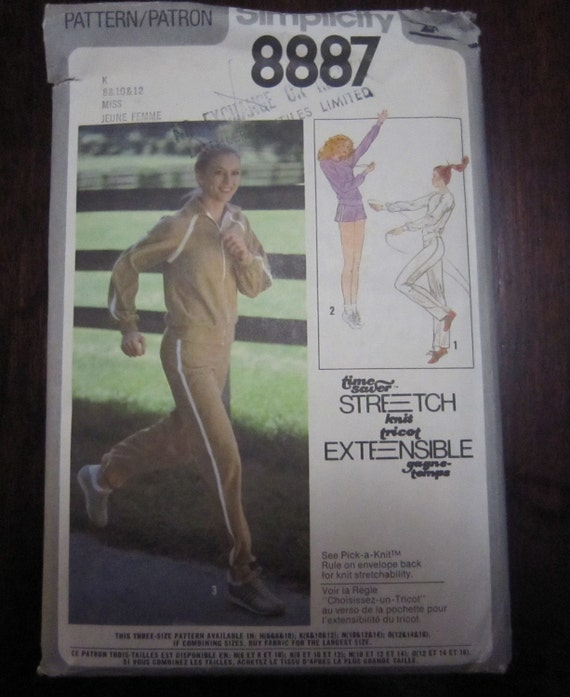 1979 -Vintage Simplicity Pattern No. 8887- Misses Pullover Top, Pants and unlined Jacket -size 8-12