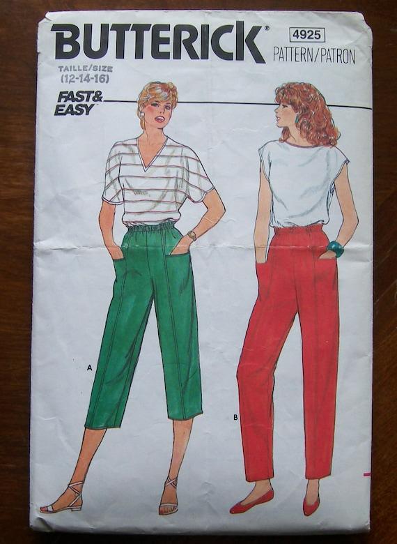 1980s-Vintage Butterick Pattern 4925-  Misses PANTS -size 12-14-16