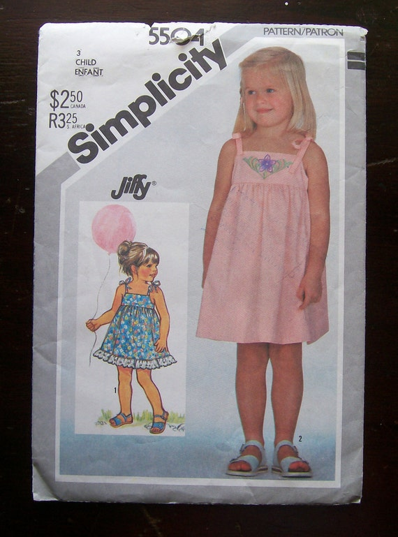 1982-Vintage Simplicity Pattern 5504-  Child's Jiffy Pullover Sundress-Size 3 -UNCUT