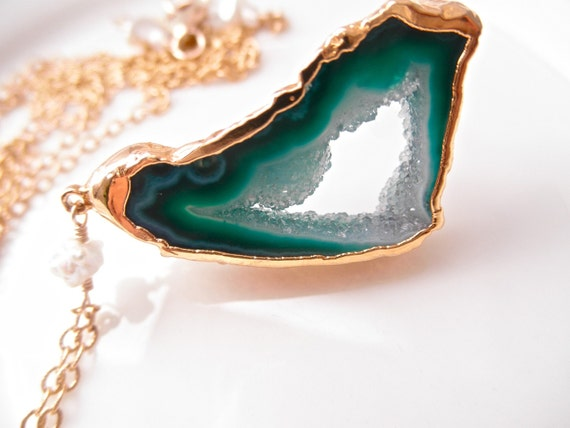 30 Inch Long Gold Filled Chain, Rave in the Cave Luxe Pendant Necklace - Sea Green Druzy Agate Geode Slice