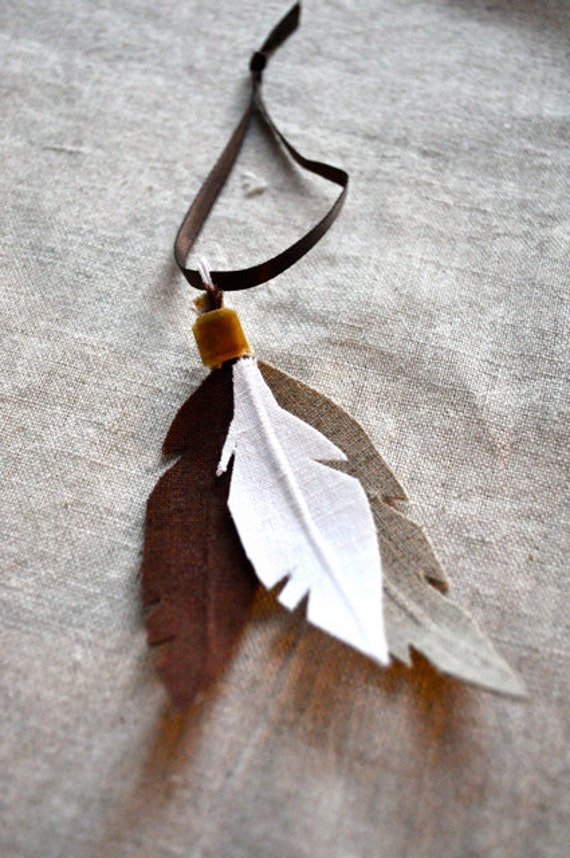 linen feather ornament