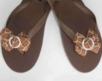 Brown Brazilian 100% Rubber Flip Flops with Bow completed with Rhinestone Buckle