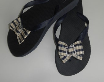 "Navy Blue Brazilian Made 100% Rubber 1.5"" Wedged Flip Flops w/Bow and Square Rhinestone Slider"