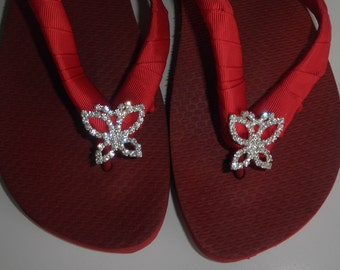 "Red Brazilian 100% Rubber 1.5"" Flip Flops w/Wrapped Sides and Butterfly Rhinestone Slider"