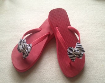 "Hot Pink 1.5"" Wedge Flip Flops -100% Brazilian Rubber"