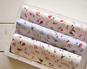 Fat Quarter) Pastel Print Cotton Fabric Package - A Set of 3