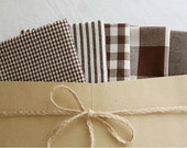 Fat Eighth) Basic Brown Series Cotton Fabric - Set of 5