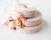 1.5cm Wide French Linen Letter Ribbon, 15 Yard