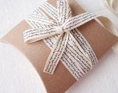 1cm Wide French Linen Black Letter Ribbon, 10 Yard