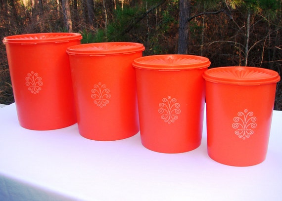 Vintage Orange Tupperware Canister Set of 4