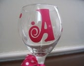 Personalized Wine Glass with Initial and Polka Dots