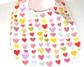Baby Girl Bib - Valentine - Hearts and Pink Gingham - Baby Gift Under 10