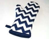 Oven Mitt Chevrons Navy and White - Nautical- Gift Under 20 - Gift for Foodie - pasqueflower