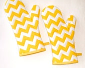 Oven Mitts Chevrons Yellow and White