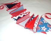 Patriotic Bunting - Red, White & Blue- 4th of July - 15 Reversible Fabric Flags -9  Feet