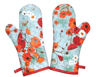 Oven Mitts -One Pair - Poppies on Teal - Oven Gloves-Gift Under 40