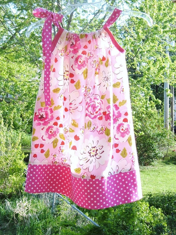 Little Girl Dress Pink Floral Pillowcase Dress Size 5T  FREE DOMESTIC SHIPPING