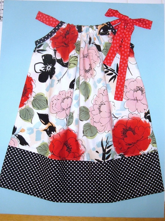 Toddler Sun Dress - Pillowcase Dress or Jumper- Size 3T - Red Pink Black Floral