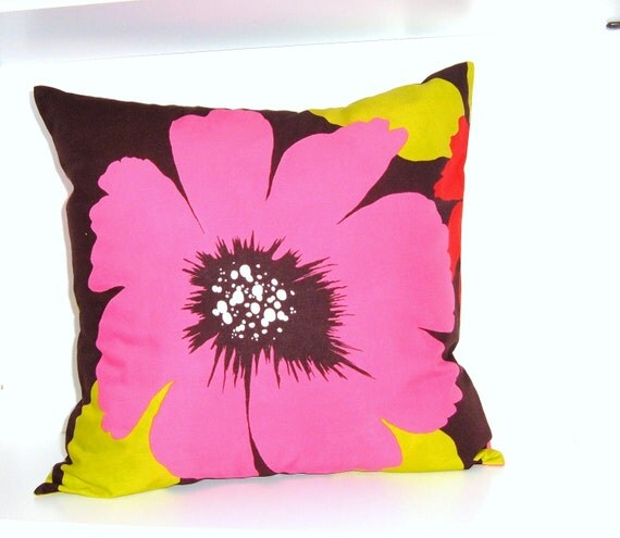 16x16 Pillow Cover AH Jobim 1 Pink and Dark Brown Floral