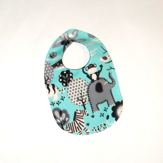 Boutique Baby Bib - Gift for Baby Boy - Jungle Animals on Aqua with Black