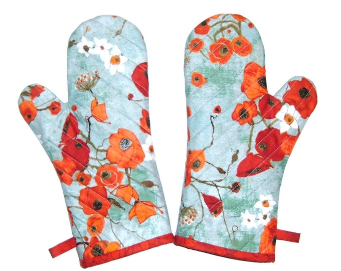Oven Mitts -One Pair - Poppies on Teal - Gift for Foodie--Gift Under 40