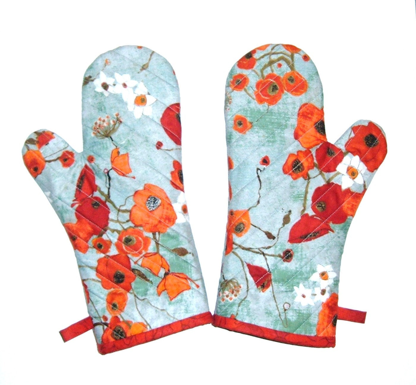 Kitchen Designer Oven Mitts One Pair Poppies On Teal Oven Gloves Gift