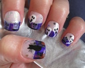 Halloween Design Full Set of Nail Tips-Purple Tips w/Gravestones, Ghosts, Cats, and Pumpkins