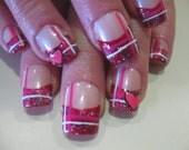 Valentine Plaid-Valentine's Day Full Tip Nails