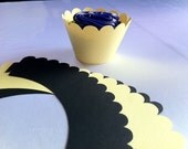 Scalloped Yellow and Black Cupcake Wrappers