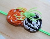 Sale - Halloween Fabric Flower Duo w/ Pearl and Spider Detail on Green Ultra Thin Headband