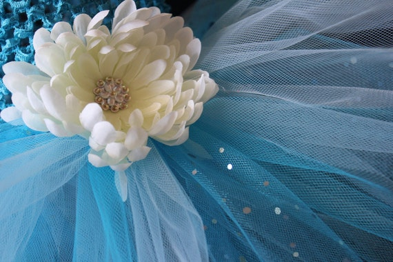 Turquoise Tutu Dress and Matching Headband